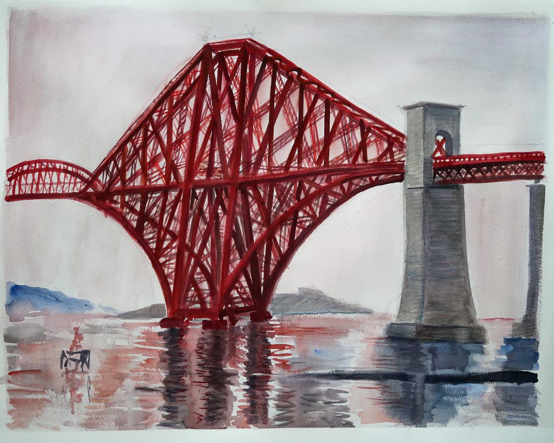 Søren Elgaard - akvarel rød bro